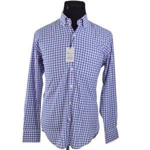 NEW Peter Millar Mens Shirt M Blue Grey Check